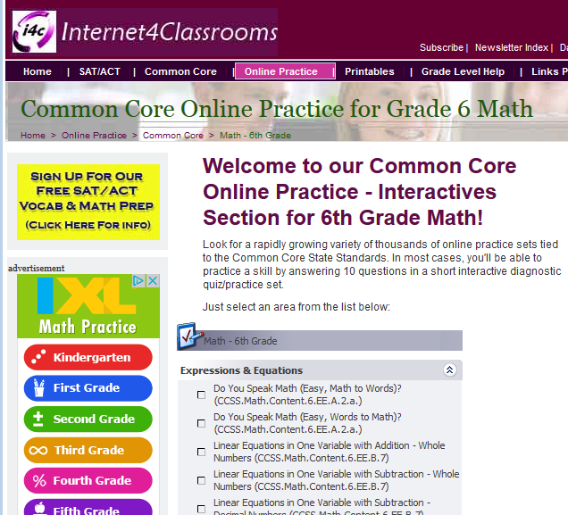 Common Core Online Practice for Grade 6 Math. Use these online ...