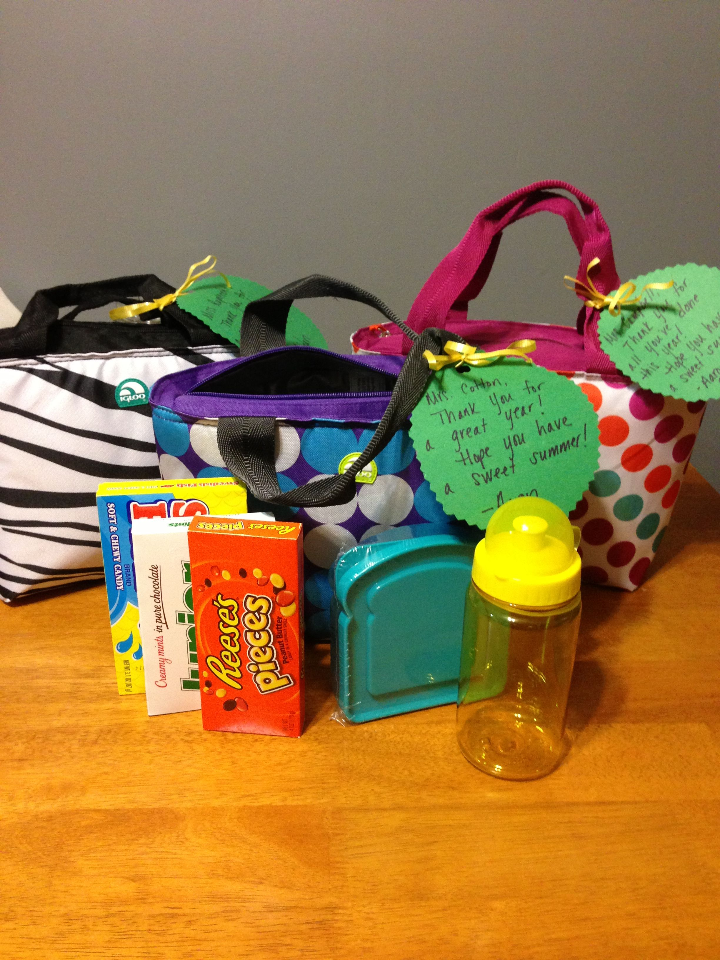 End of year teacher gift- I LOVE  the idea of using mini coolers as gift bags!