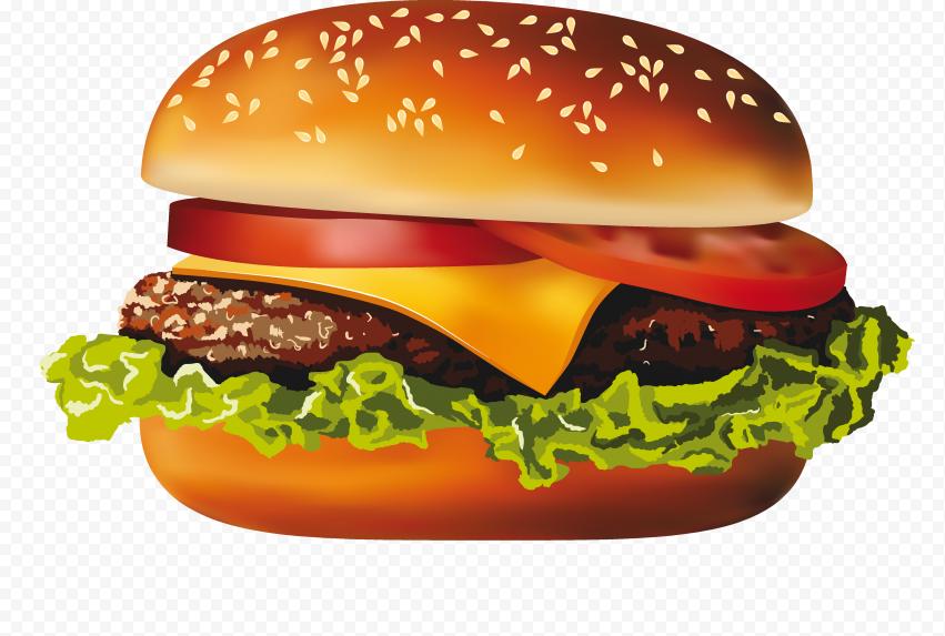 Hd Cheese Burger Illustration Cartoon Png Image Burger Veggie Burger Cheeseburger