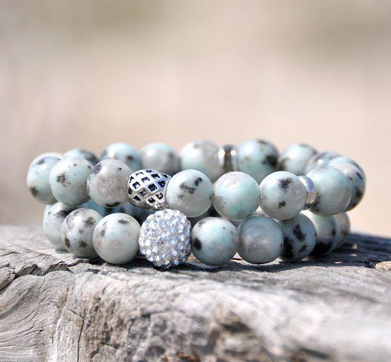 Ocean Blue Jasper Beaded Bracelets with Swarovski Pave / Set of 2 via Etsy