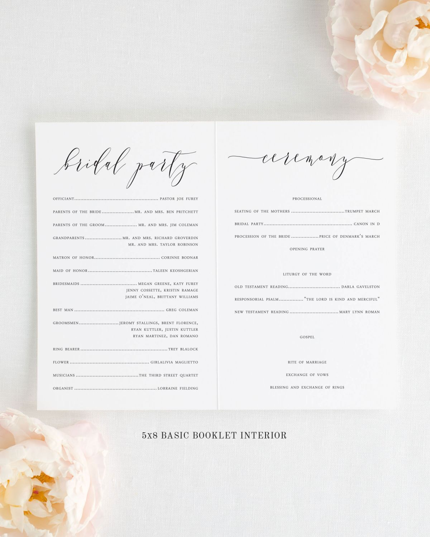 Romantic Calligraphy Booklet Wedding Programs in 2020