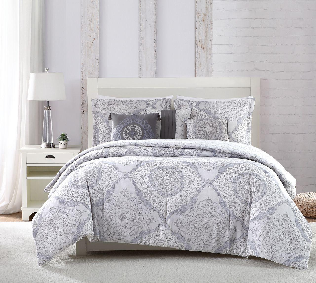 6 Piece Delia Gray White Blue Comforter Set Grey