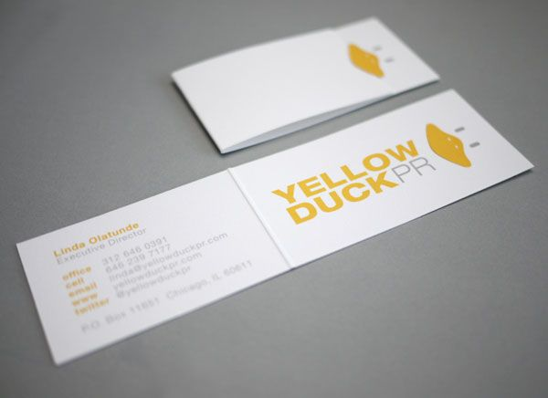 Business cards with a die cut beak tuck flap for yellow duck pr business cards with a die cut beak tuck flap for yellow duck pr by design with chon chon shoaff maxwellsz