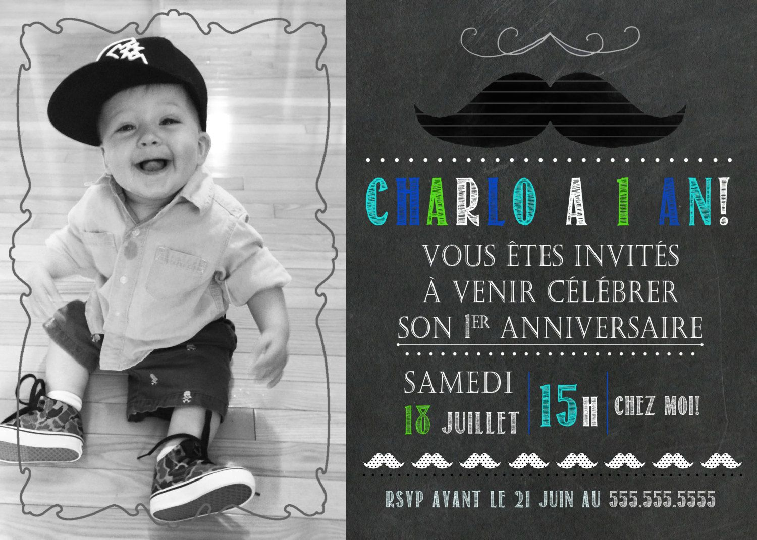 carte d 39 invitation 1er anniversaire th me moustache. Black Bedroom Furniture Sets. Home Design Ideas