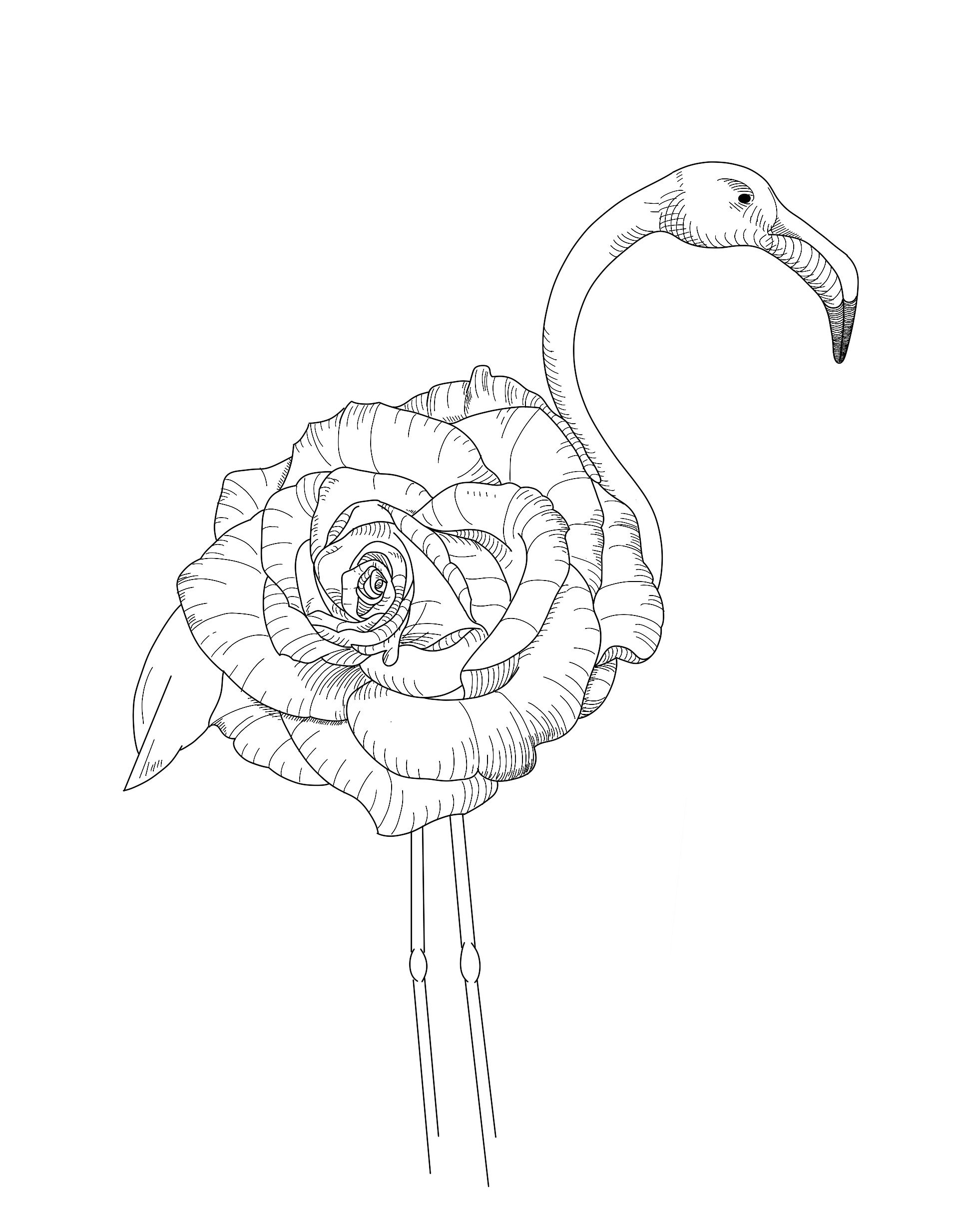 Flower X Flamingo Tattoo Design By Florian Fradet