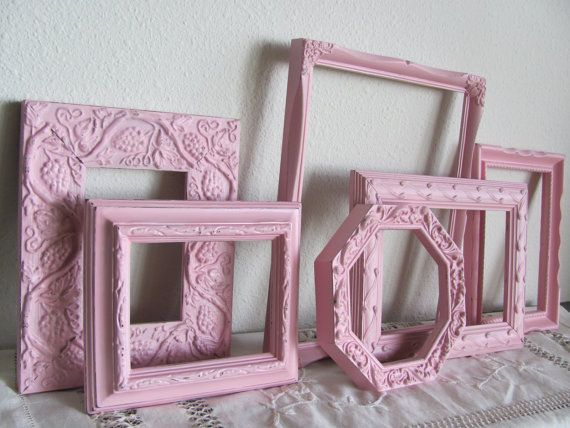 Frame Collection Set of Six Pink Picture by theshabbychateau
