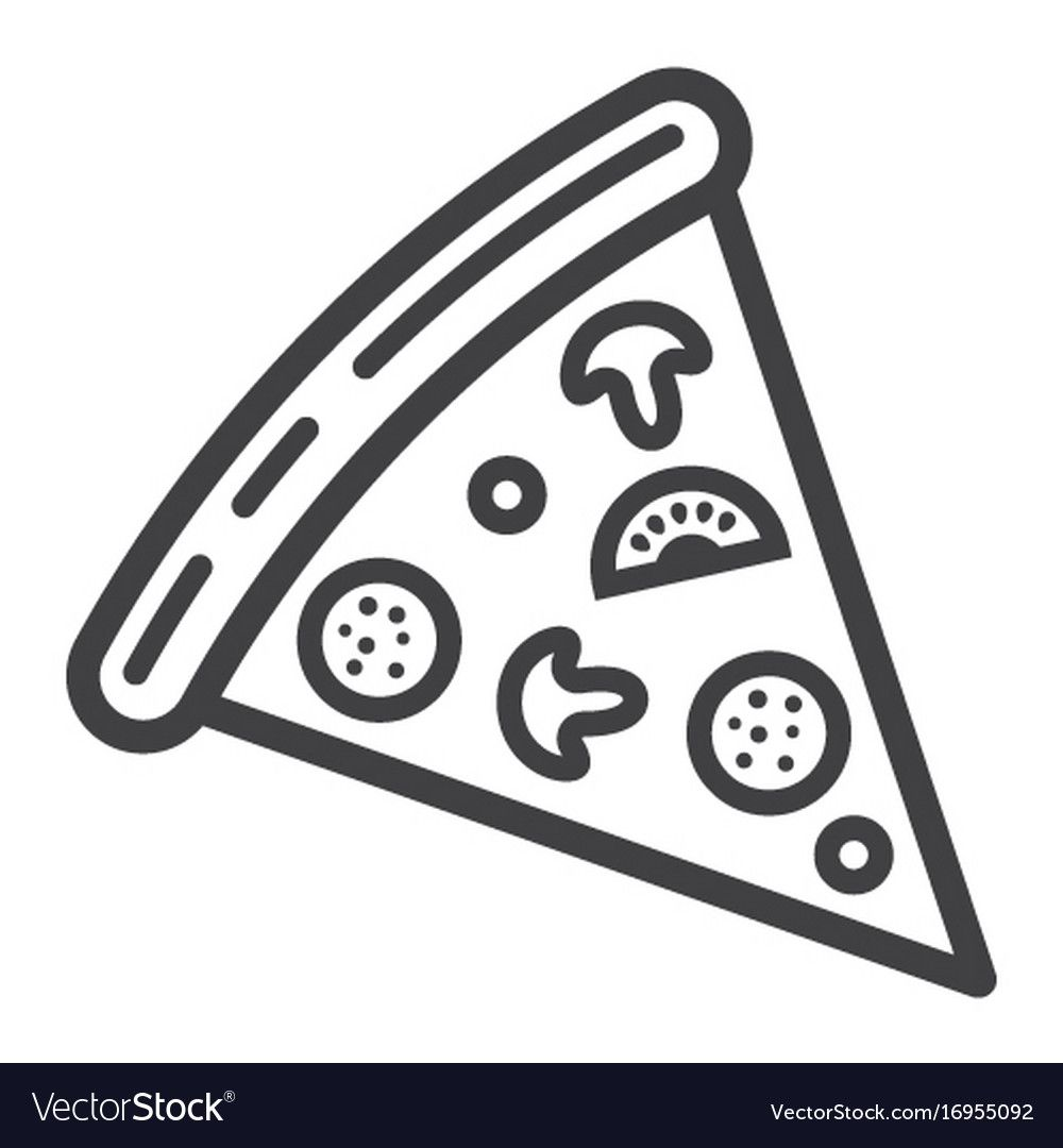 Pizza Slice Line Icon Food And Drink Fast Food Vector Image On Vectorstock Line Icon Pizza Slice Icon