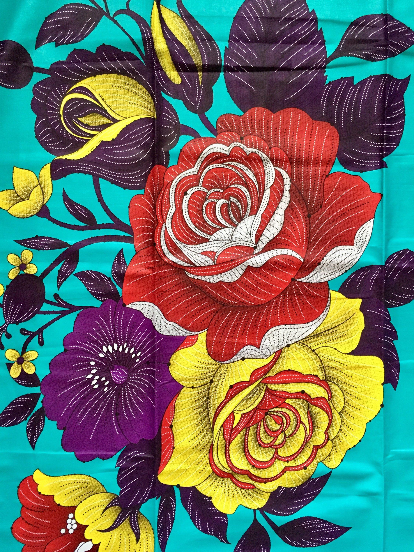 African print fabricankara turquoise epic blooms