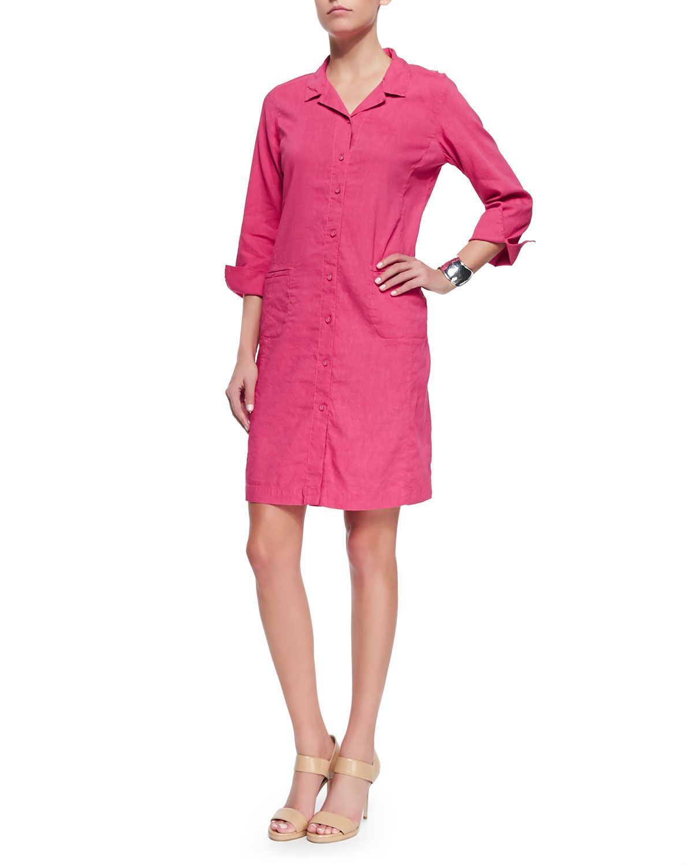 Eileen Fisher Linen Viscose Stretch Shirtdress Gingerpink Plus Size Shirt Dress Clothes Dresses For Work