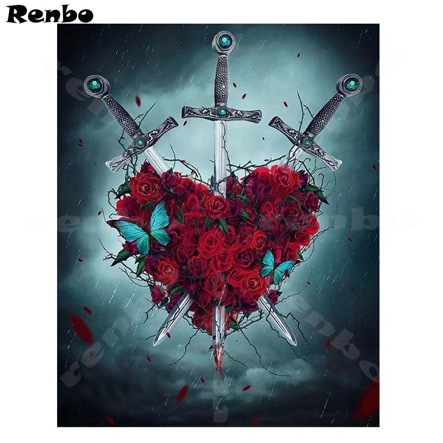 Diy Diamond Painting Red Rose Resin Full square 5D Diamond ...