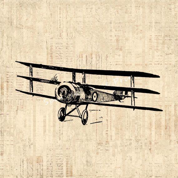 Airplane Art Vintage Artwork Triplane Wall Art Antique ...