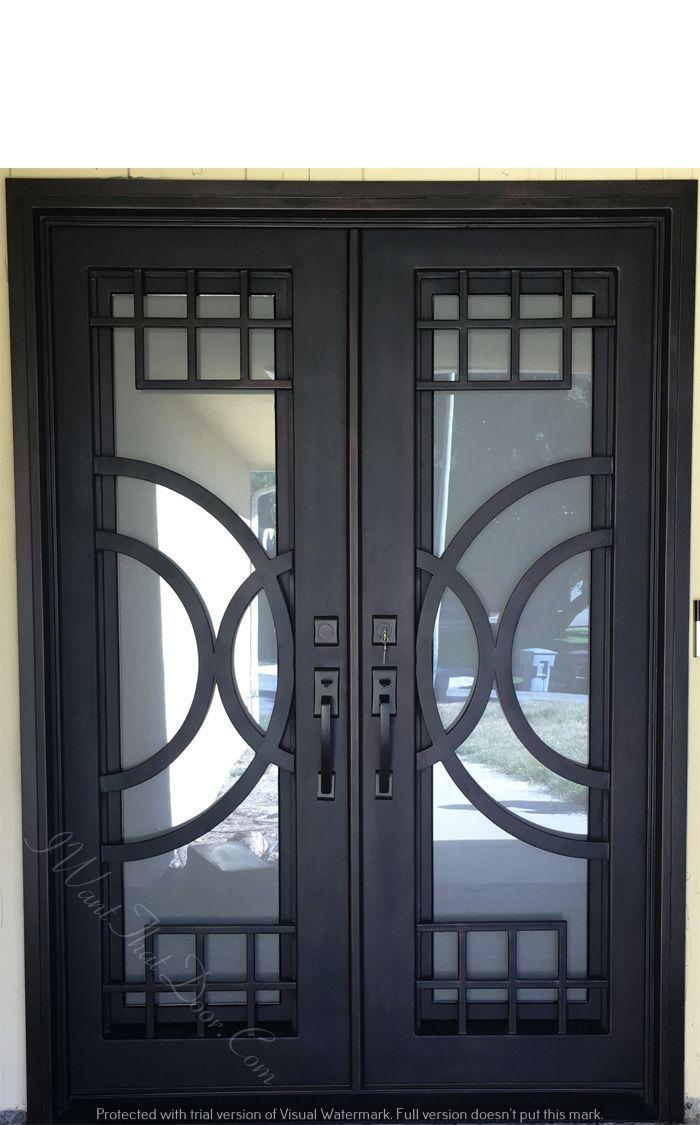 Moderno wrought iron double door install   Iron doors ...