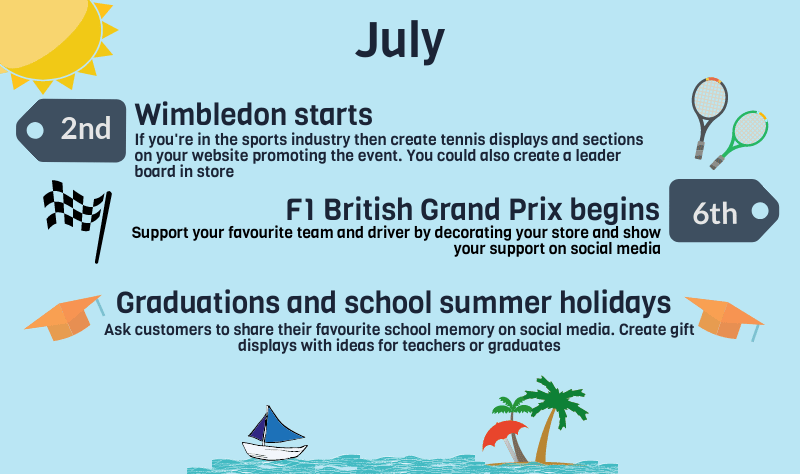 2018 events calendar for uk retailers july