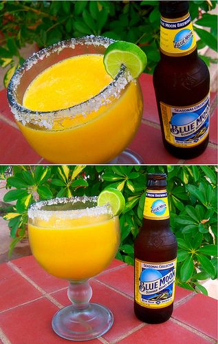 blue moon-arita... its a mango margarita with a blue moon!  Yum-ee!