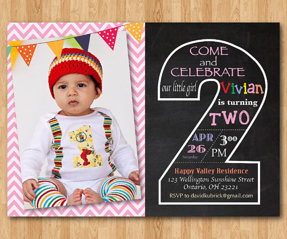 Second Birthday Invitation Chalkboard 2nd Invite With Photo Chevron Baby Boy Or Girl Blue Any Color Printable Digital DIY On Etsy 1000