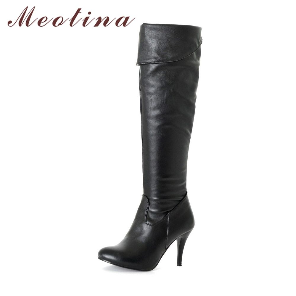 ee5ce0b69b4 Meotina Women Boots High Heels Thigh High Boots Winter Sexy Over Knee Boots  Ladies Autumn Shoes Black White Shoes Big size 10 43
