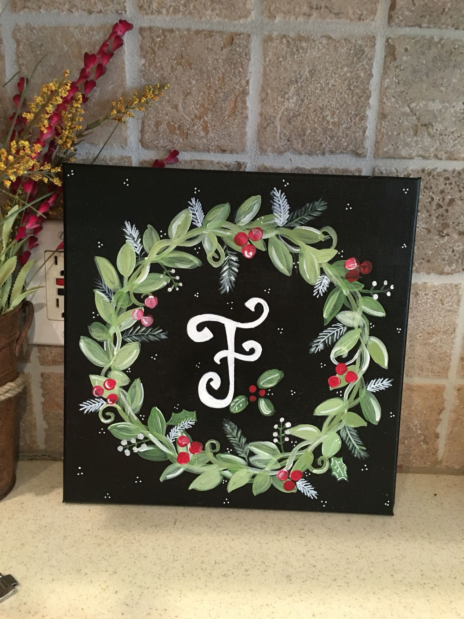 Painted Canvas Christmas Wreath With Initial Christmas