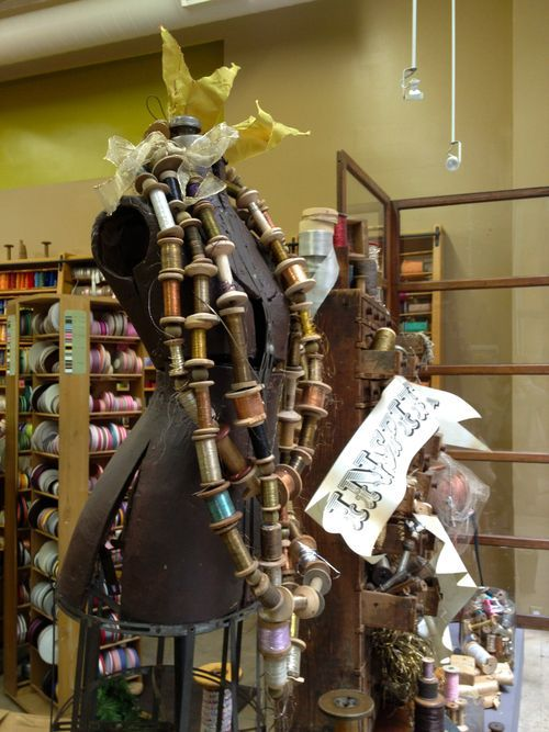 Wow what a great vintage dress form & spools display at New York City Tinsel Trading