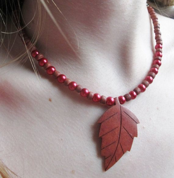 Wood Bead Necklace with Wooden Leaf Pendant by HASjewelry on Etsy