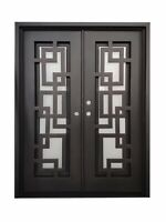 Belton Double Front Entry Wrought Iron Door Frost Glass 72 x 96 Right Active | eBay