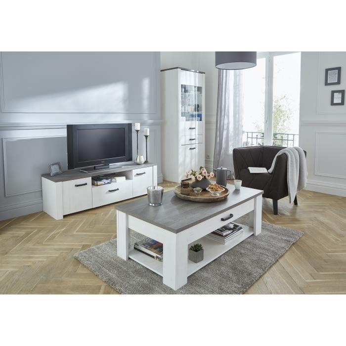 MEUBLE TV MARQUIS Meuble TV contemporain blanc, décor pin et décor