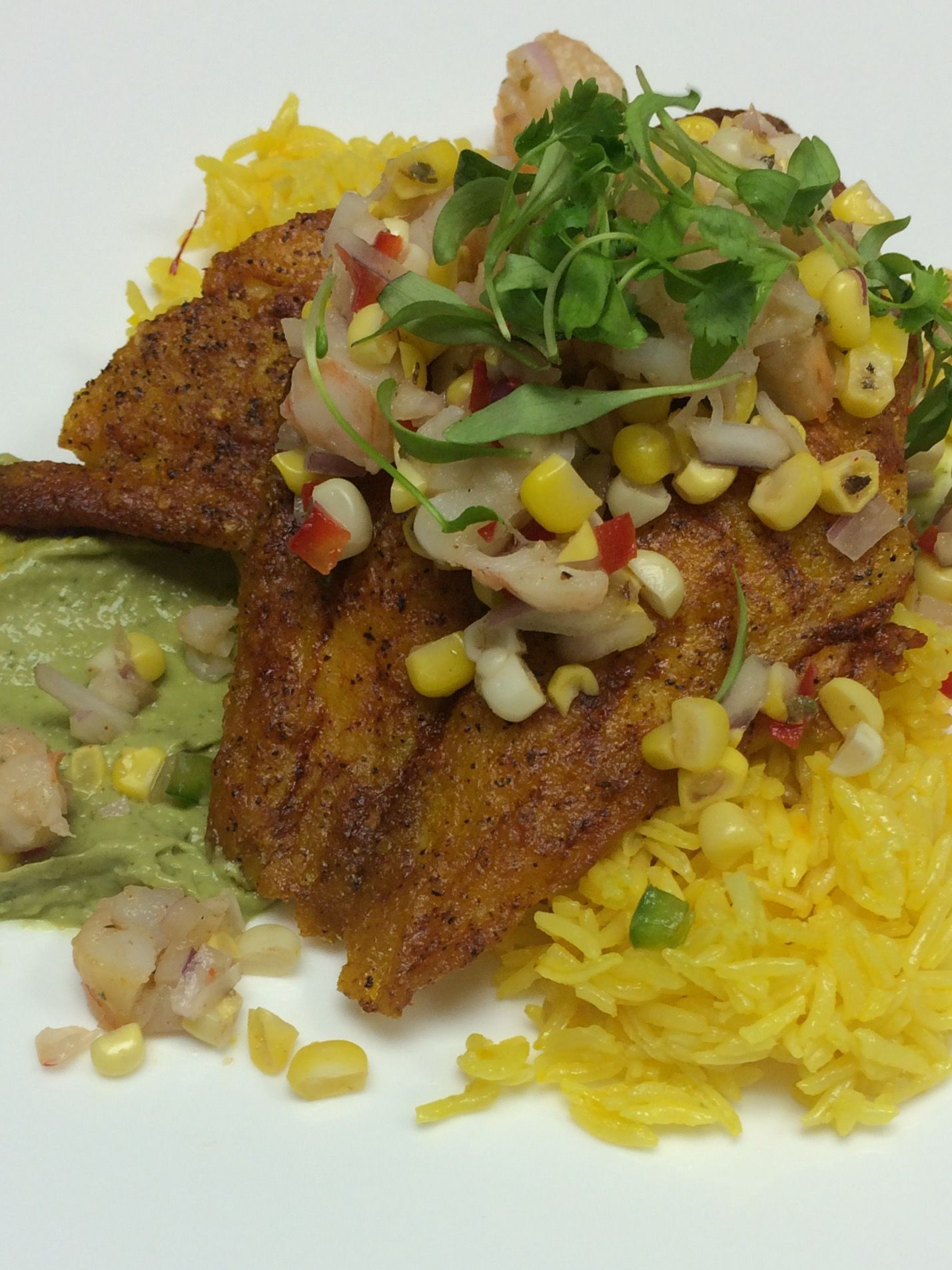 Achiote roasted snapper, saffron basmati rice, avocado aioli, smoked shrimp & sweet corn salsa