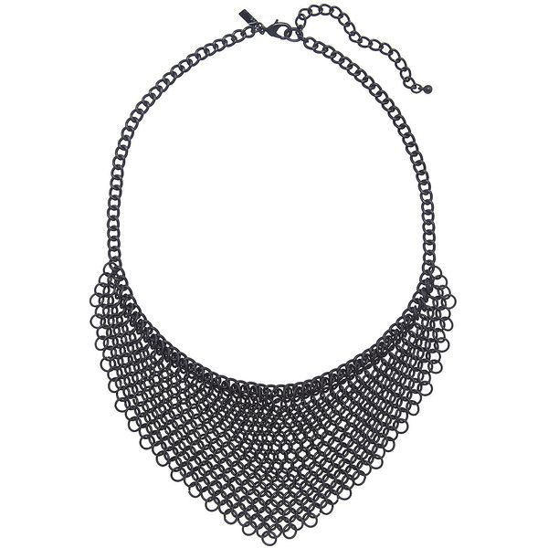 Lane Bryant Chain link bib necklace ($35) ❤ liked on Polyvore featuring jewelry, necklaces, chain link necklace, chain link jewelry, black necklace, black bib necklace and kohl jewelry