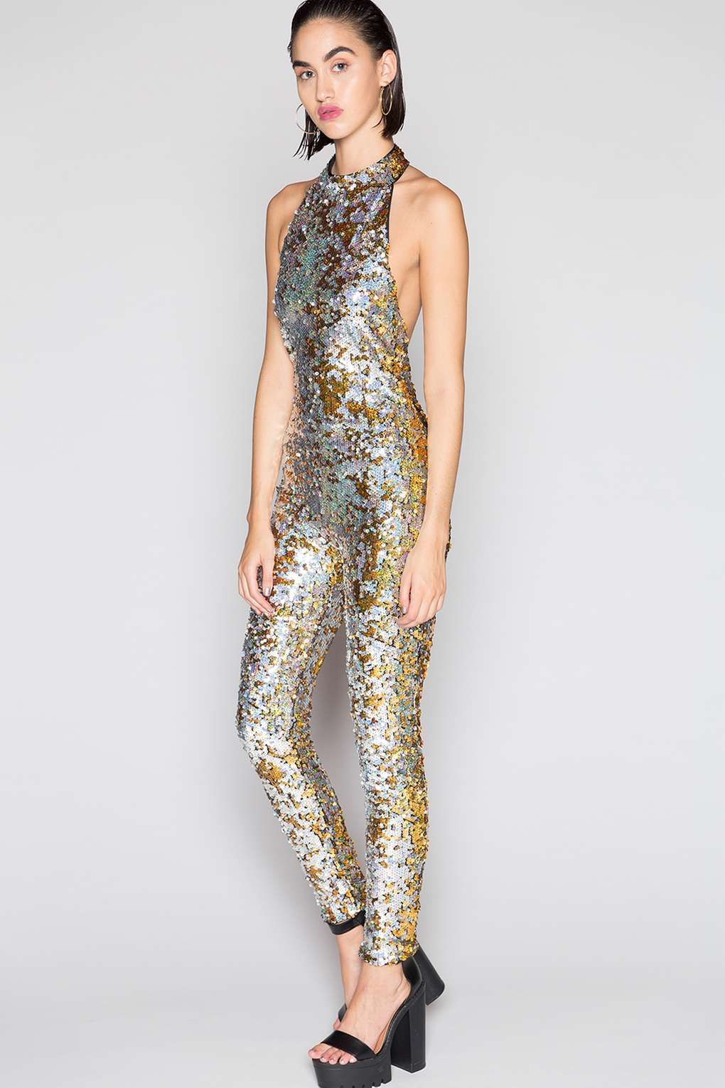 5553d467dd88   Gold And Silver Sequin Catsuit by Jaded London - Playsuits and Jumpsuits  - Clothing - Topshop Europe
