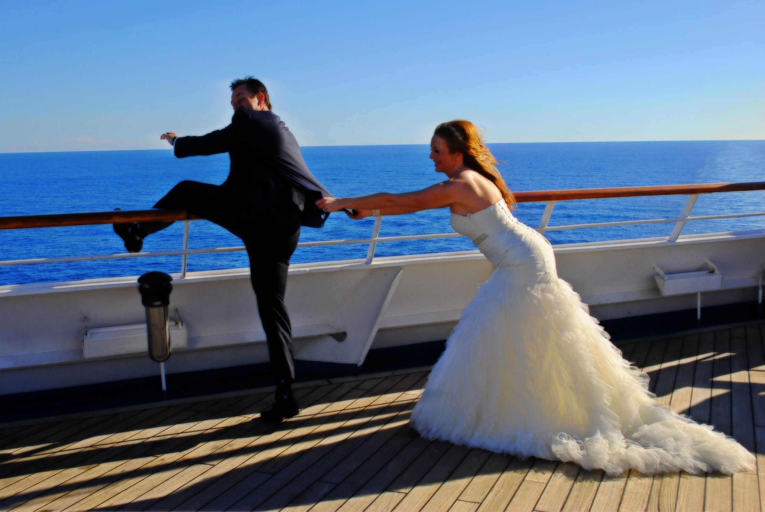 Ha, ha, we had fun with this one! Cruise wedding Carnival