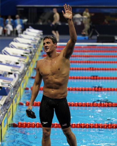 Ryan Lochte does 30 minutes of abs work every day, choosing from a menu of planks, hanging leg raises, Swiss ball moves, and medicine ball work. It shows.