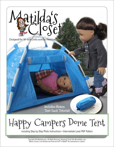 Matilda's Closet Happy Camper Dome Tent Doll Accessories Pattern 18 inch American Girl Dolls | Pixie Faire #dollaccessories