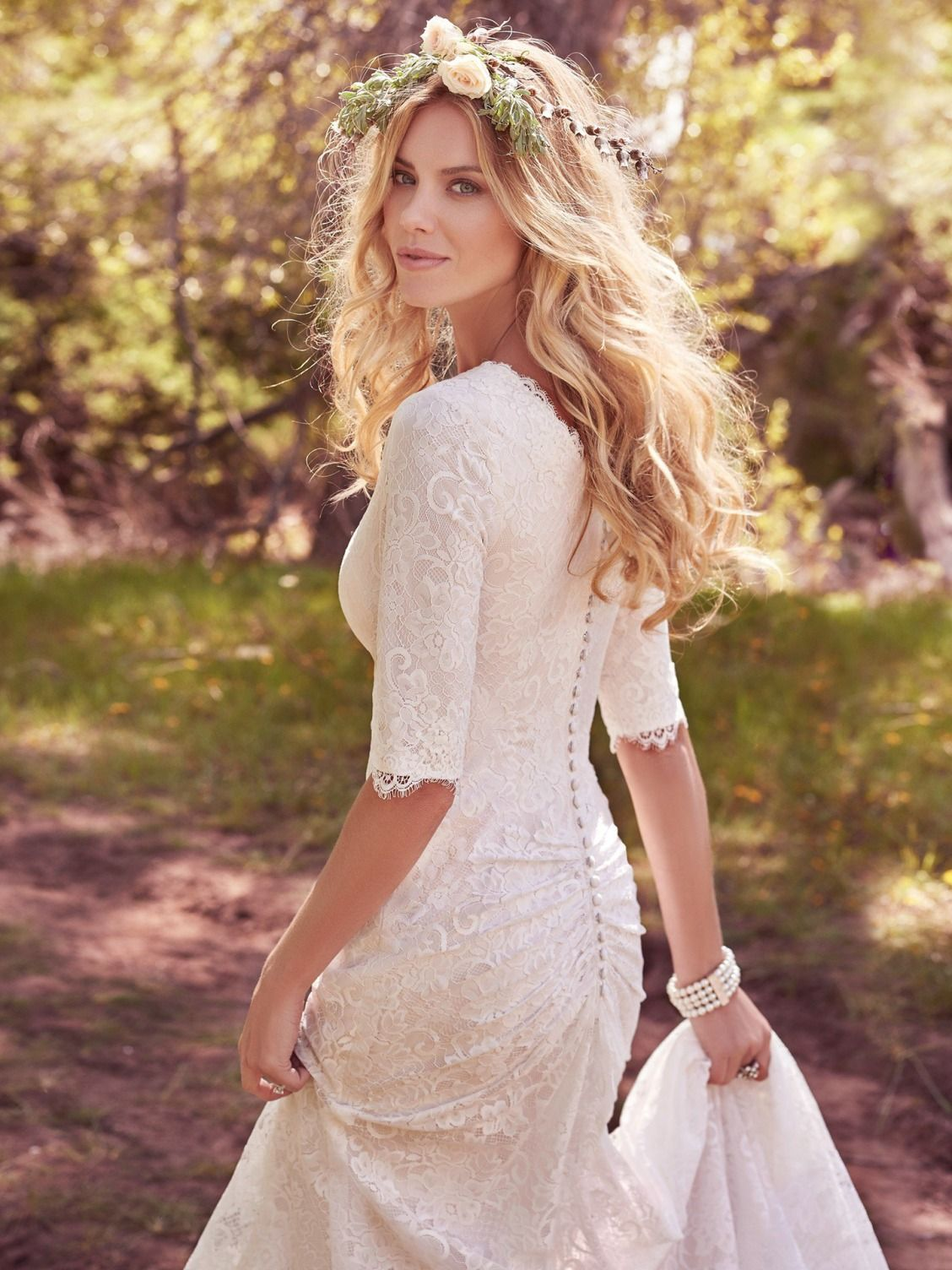 Lace fit and flare wedding dress with sleeves  Maggie Sottero Wedding Dresses  Maggie sottero Wedding dress and