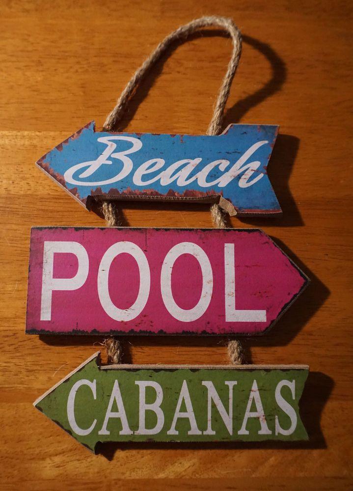 Bar Decor Signs Beach Pool Cabanas Arrows Tropical Poolside Rustic Tiki Bar Home