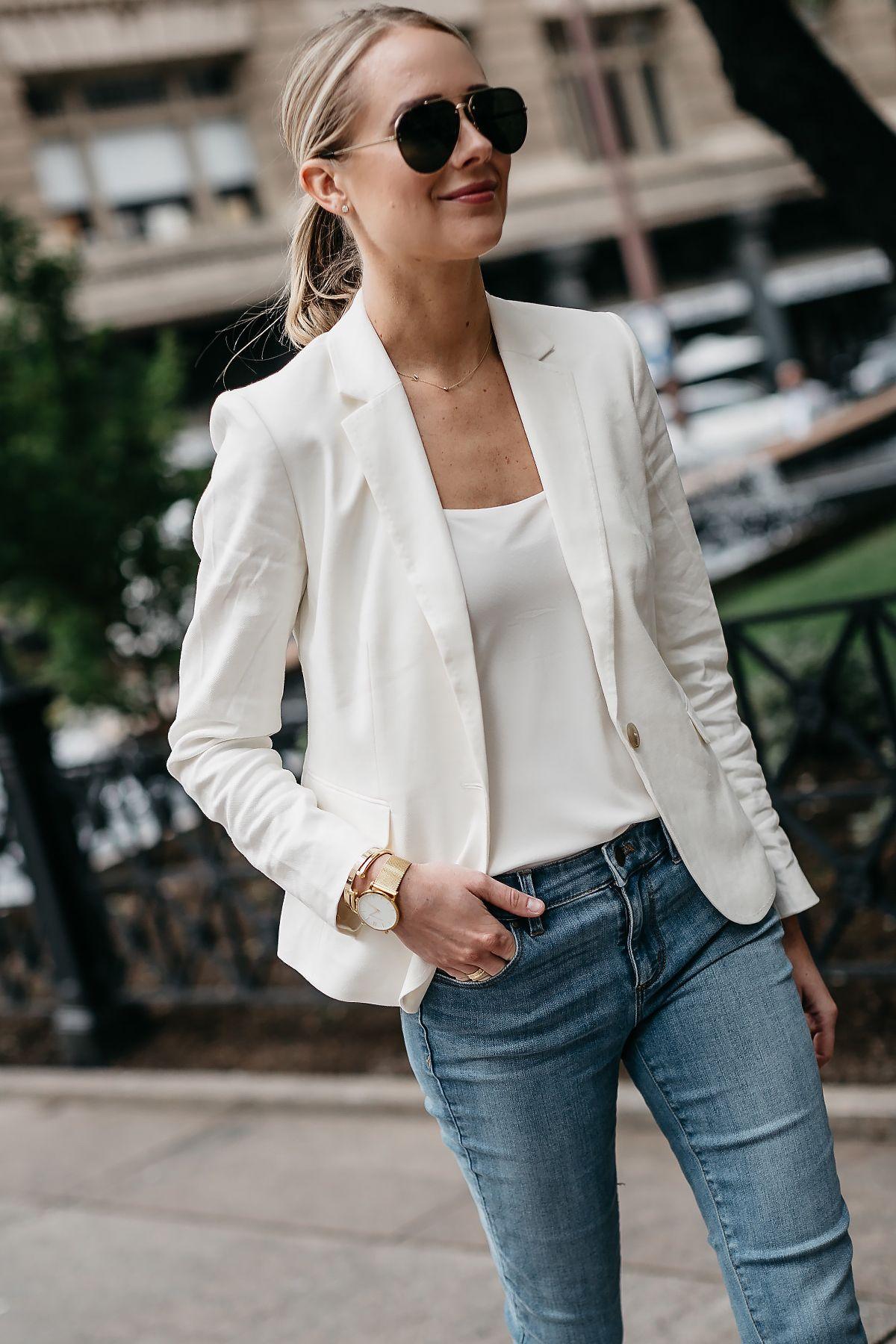 Fashion Jackson Ann Taylor White Blazer White Cami Denim