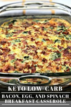 Low-Carb Keto Bacon, Egg, and Spinach Breakfast Casserole is the perfect quick and easy make-ahead, meal-prep dish with cheese, mushrooms, and peppers. This dish is keto friendly and perfect for keto diets. Serve this dish for your holiday breakfasts and brunch!