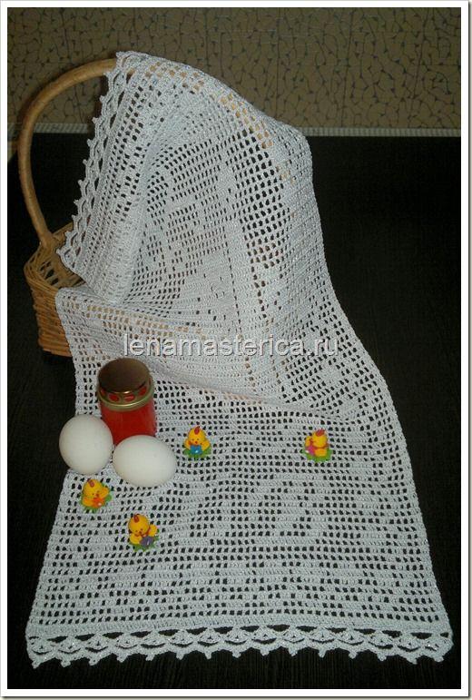 пасхальная салфетка христос воскрес схема филейное вязание