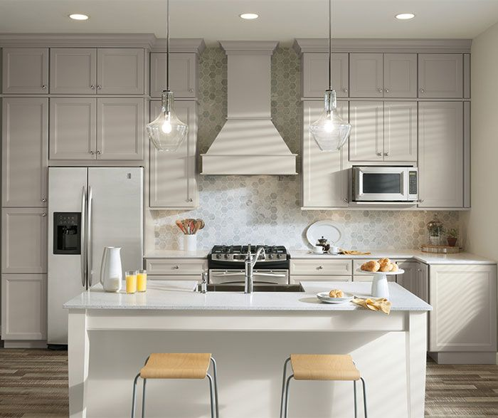 Grey And White Kitchen With Island using two finishes in your kitchen is a great way to infuse the