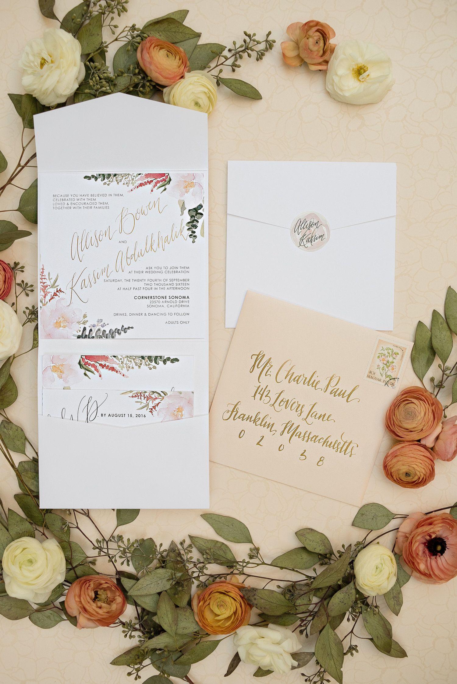 romantic watercolor foil wedding invitations, blush white and gold ...