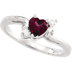 Great Valenines gift. Hint Hint!! Heart-Shaped Genuine Garnet & Diamond Ring #ValentineGiftsForHer