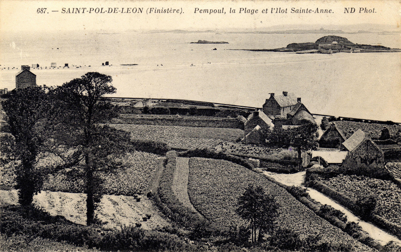 Pempoul La Plage Et L Ilot Sainte Anne Saint Pol De Leon Finistere Saint Pol De Leon Leon Carte Postale