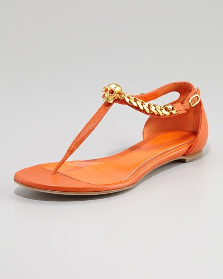 385f3a3bf54b3f Alexander McQueen - Skull-Chain Leather Thong Sandal