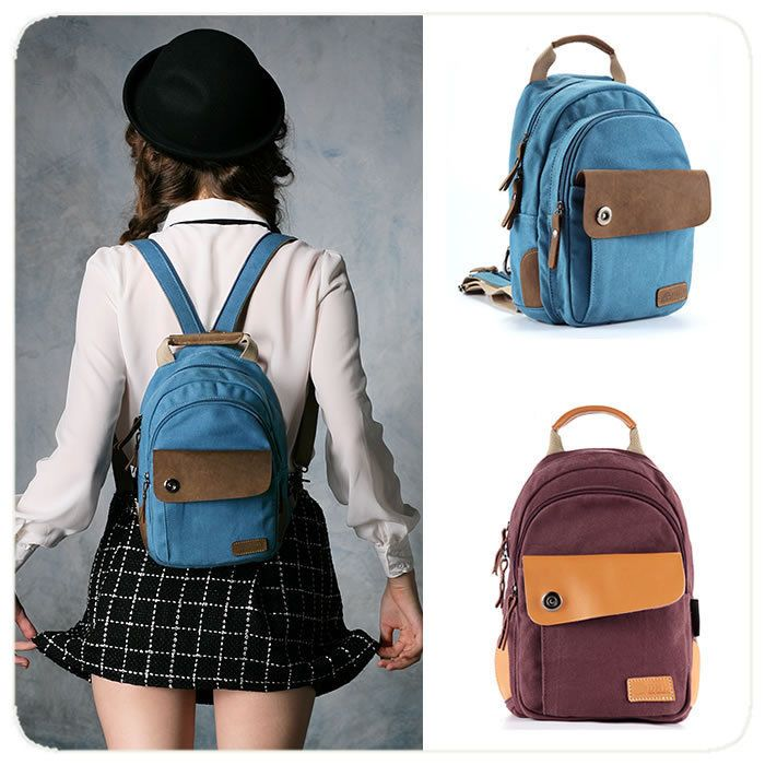 Details about Cute woman canvas mini backpack small book bag ...