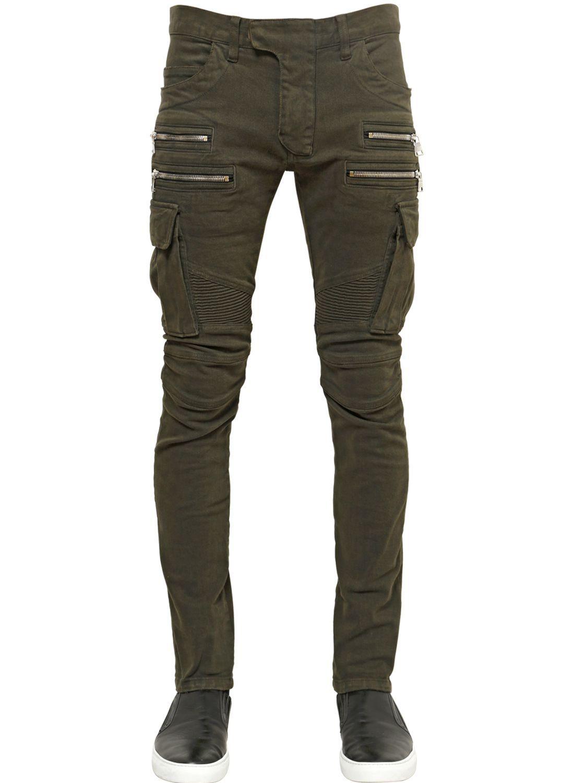 d2a913a6 Balmain   Cotton Denim Cargo Biker Jeans.   Fashion/Style   Clothes ...