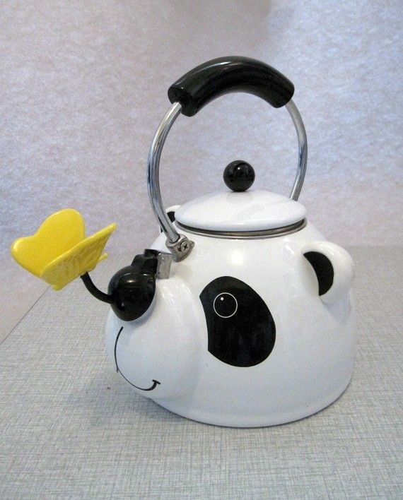 CUTEst PANDA and BUTTERFLY novelty tea kettle by by reallytrulytoo