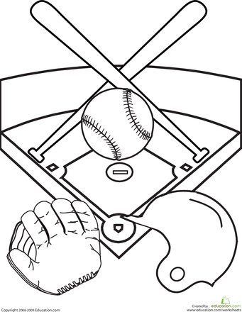 Color The Baseball Diamond Worksheet Education Com Baseball Coloring Pages Baseball Diamond Sports Coloring Pages