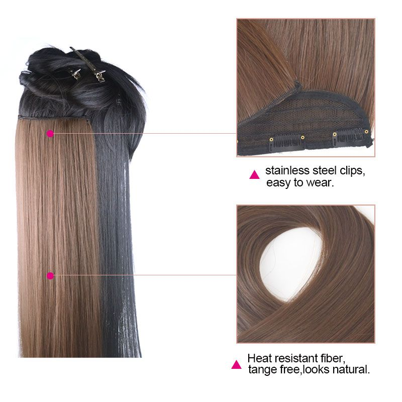 Jeedou 24 60cm Clip In Natural Hair Extension 8 Chestnut Brown False
