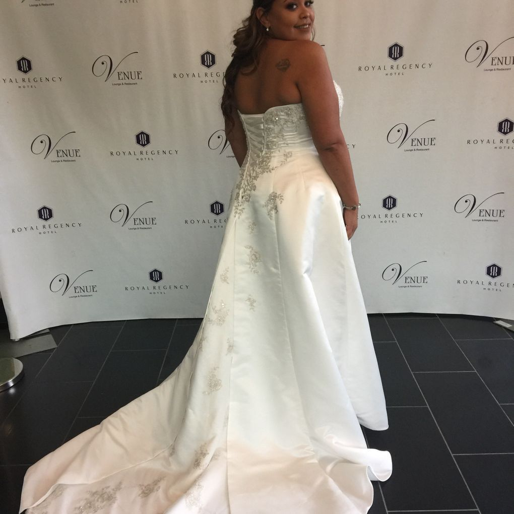 eee8118b95b37 A-line Plus Size Wedding Dress with Lace Up Back | David's Bridal ...