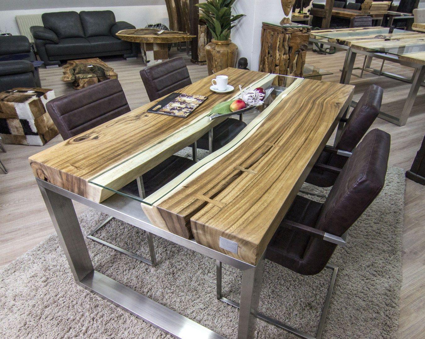 der tischonkel designertisch massivholztisch mit glas und edelstahl haus und garten. Black Bedroom Furniture Sets. Home Design Ideas