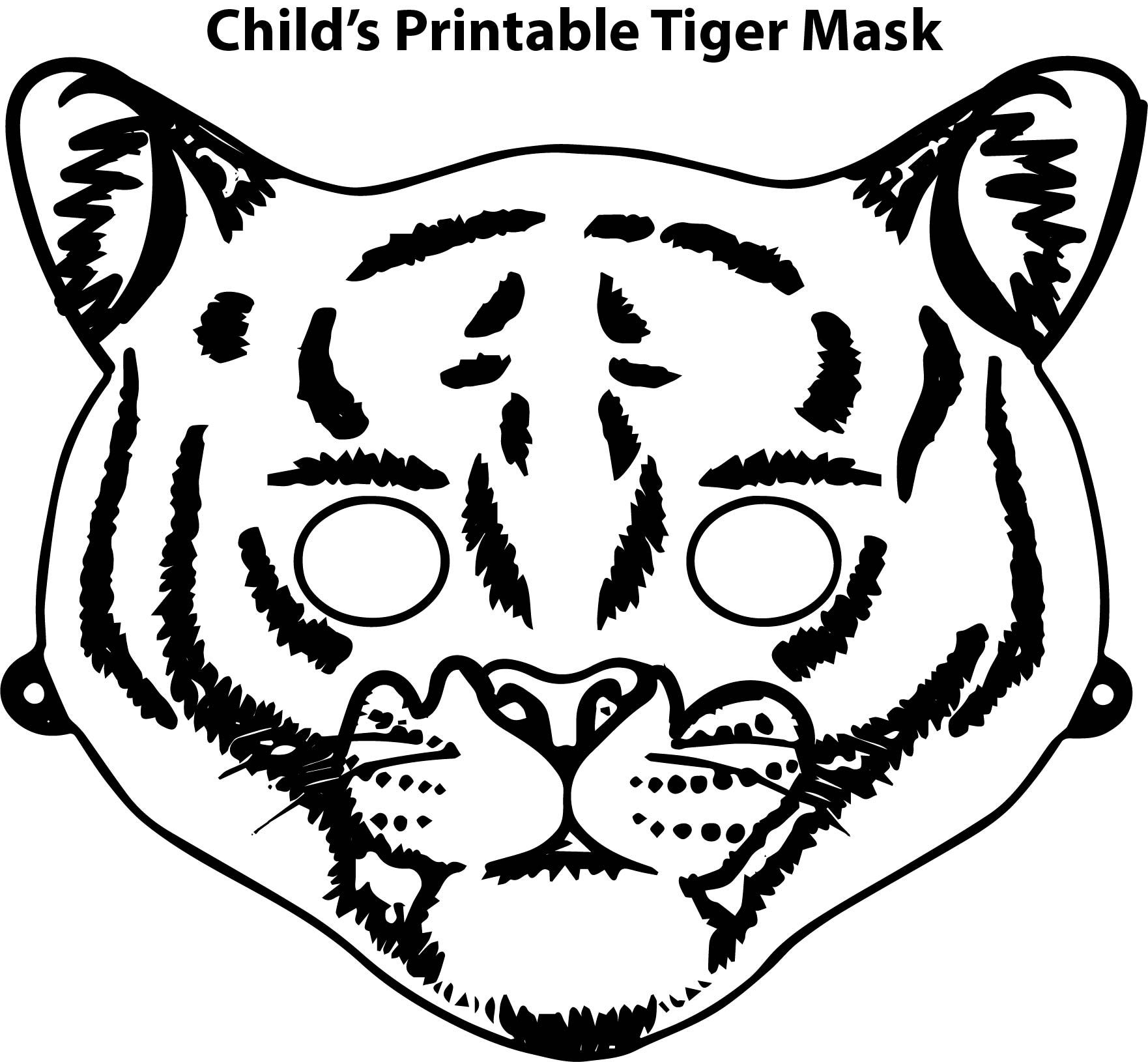 Nice Child S Printable Tiger Mask Coloring Page
