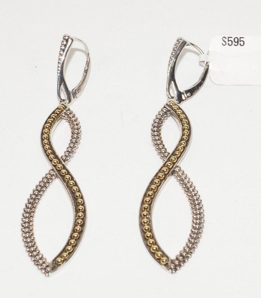 ba1fb7d73b2 Lagos caviar 925 st silver 18k gold swirl drop earrings